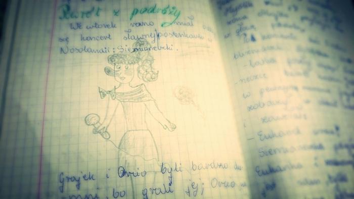 """Karta z książki """"Nosoludki"""" — rysunek jednego z bohaterów."""