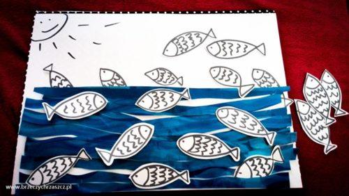 Na odwrocie fal napisałam zdania, a rybki kryją wyrazy. Dużo przyklejania i powtarzania - zadowolone i dziecko, i logopeda.